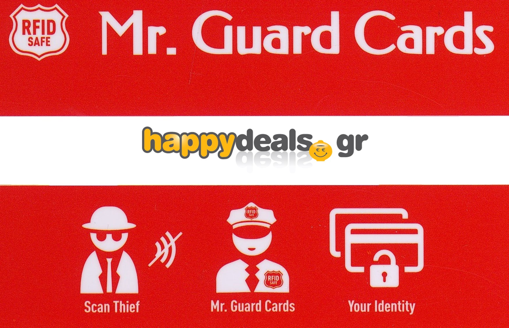 15€ από 30€ για την Security Card (Κάρτα Προστασίας Ανέπαφων Συναλλαγών), που προστατεύει γρήγορα και εύκολα τις κάρτες σας από επίδοξους κλέφτες. Για πρώτη φορά στην Ελλάδα, Αποκλειστικά από το Happydeals!