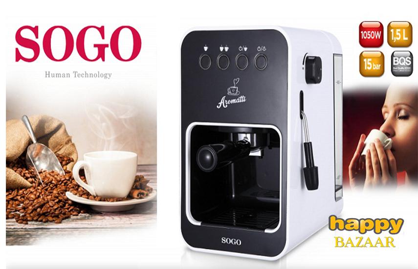 97€ από 141€ για Καφετιέρα ''Espresso 15 Bar'' της ''Sogo'' χωρητικότητας 1.5L, για εσπρέσο ή καπουτσίνο