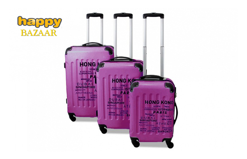 117€ από 236€ για Σετ 3 Βαλίτσες Ταξιδιού Trolley με Τηλεσκοπικό Χερούλι, Ροδάκια & Κλείδωμα Ασφαλείας