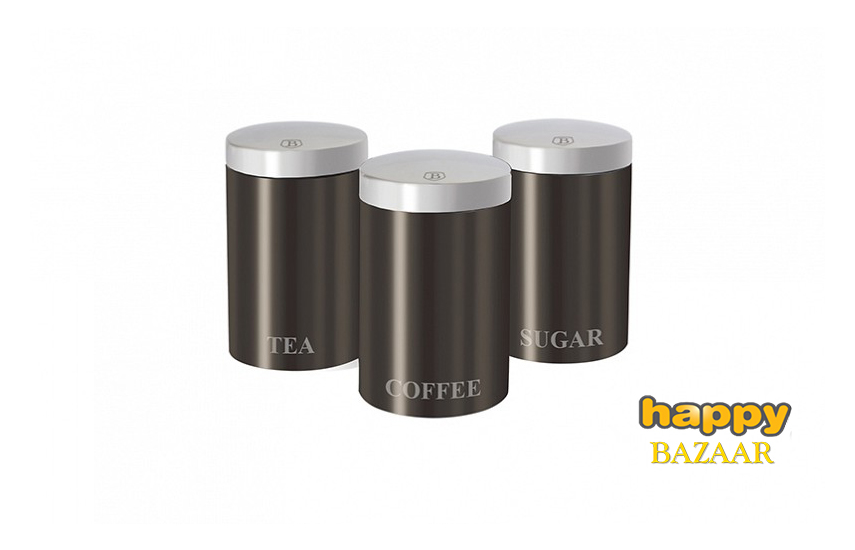27,9€ από 59,9€ για Μοντέρνο Σετ Μεταλλικών Βάζων για καφέ, ζάχαρη και τσάι 3τμx, Σε γκρι σκούρο χρώμα