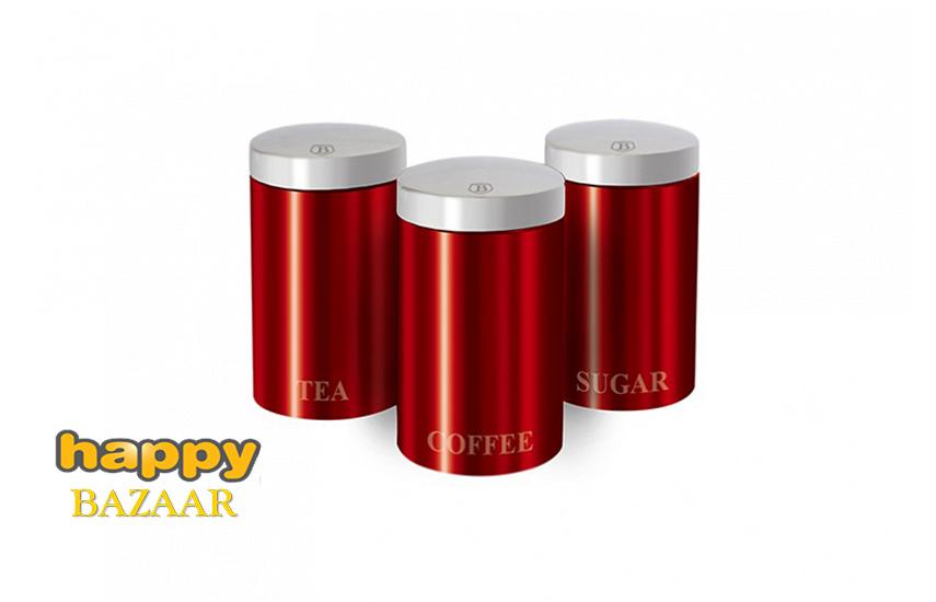 26,9€ από 59,9€ για Μοντέρνο Σετ Μεταλλικών Βάζων ''Berlinger Haus'', για καφέ, ζάχαρη και τσάι, 3τμχ, σε Κόκκινο Μεταλλικό χρώμα