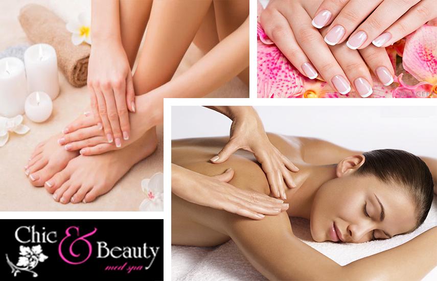 """22€ από 80€ για Full Body Mασάζ 50', Hμιμόνιμο Manicure και Pedicure στο πολυτελές κέντρο αισθητικών εφαρμογών """"Chic & Beauty Med Spa, στο Περιστέρι"""