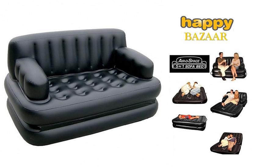 """95€ από 238€ για Φουσκωτό Στρώμα - Καναπές - Κρεβάτι ''Air-o-Space"""" με 5 διαφορετικές λειτουργίες & Τρόμπα, σε Μαύρο χρώμα"""