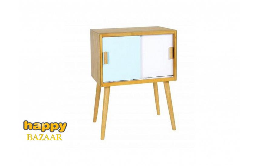 74,9€ από 174€ για Ξύλινο Έπιπλο Τραπεζάκι-Κομοδίνο Μοντέρνου στυλ, σε Γαλάζιο παστέλ-Λευκό χρώμα