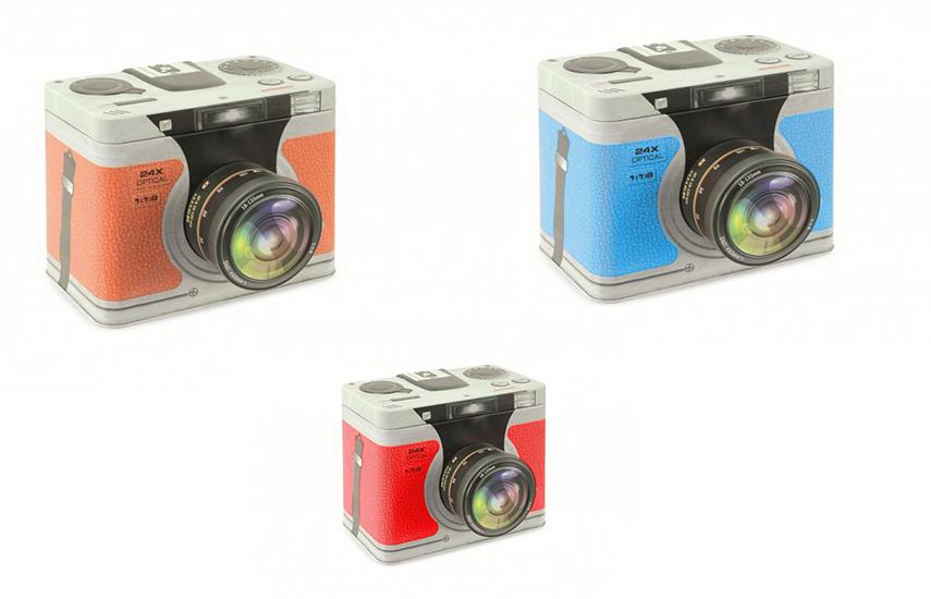 4€ από 10€ για εύχρηστο Αποθηκευτικό Κουτί από κασσίτερο σε σχέδιο Φωτογραφικής Μηχανής, σε 3 διαφορετικά χρώματα