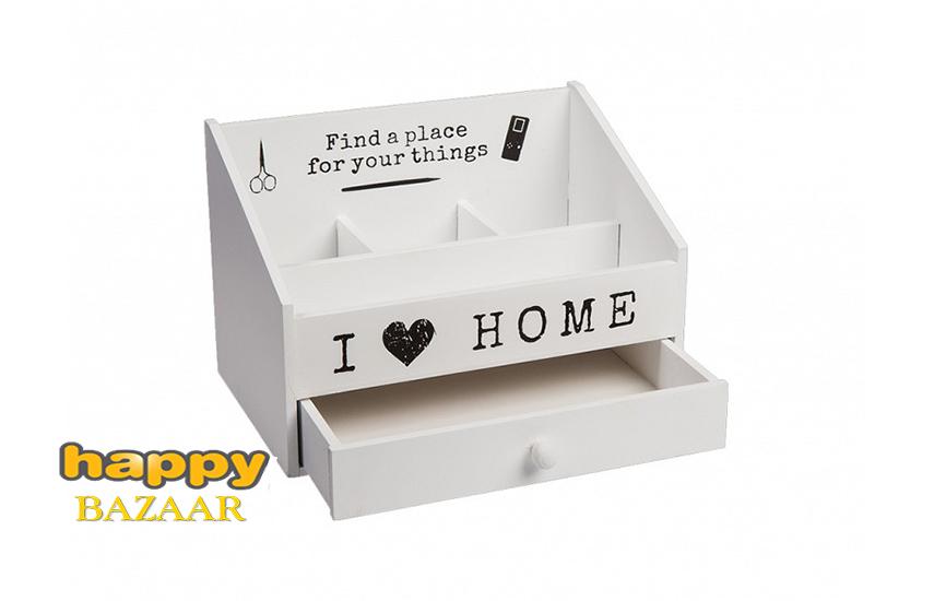 10€ από 24€ για Κουτί Αποθήκευσης - Ξύλινο Οργανωτή διαφόρων αντικειμένων, με 4 διαμερίσματα και 1 συρτάρι ανοιγόμενο