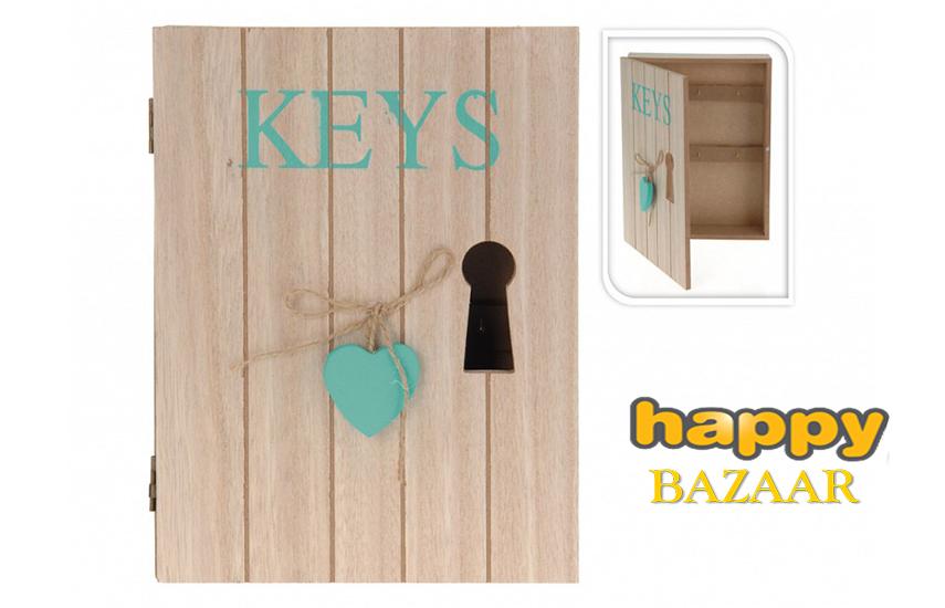 8€ από 13€ για Ξύλινη Κλειδοθήκη, με 6 γάντζους, Διακοσμητική Κλειδαρότρυπα & κρεμαστή Καρδιά, σε 4 χρώματα