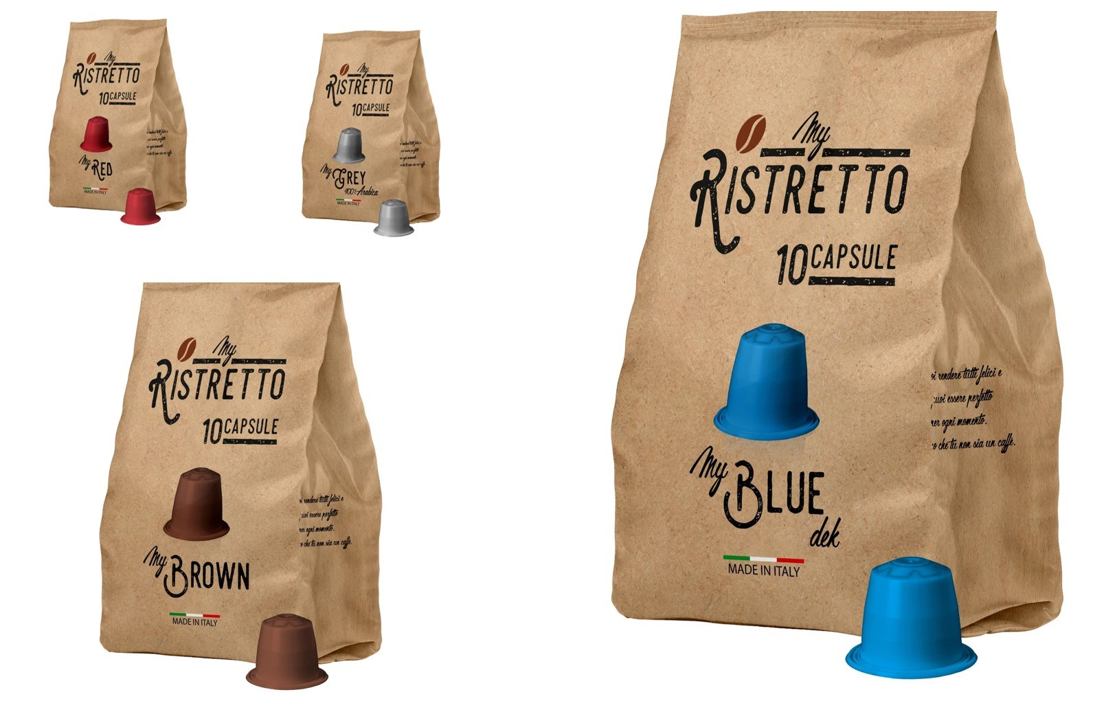 Ιταλικές Κάψουλες συμβατές με όλες τις μηχανές NESPRESSO! ... από 0,20€ / Κάψουλα (η Καλύτερη τιμή της αγοράς)! Απολαύστε αρωματικό Ristretto ή Espresso ή Lungo, στο σπίτι ή το γραφείο σας, με τις αυθεντικές ιταλικές κάψουλες My Ristretto!