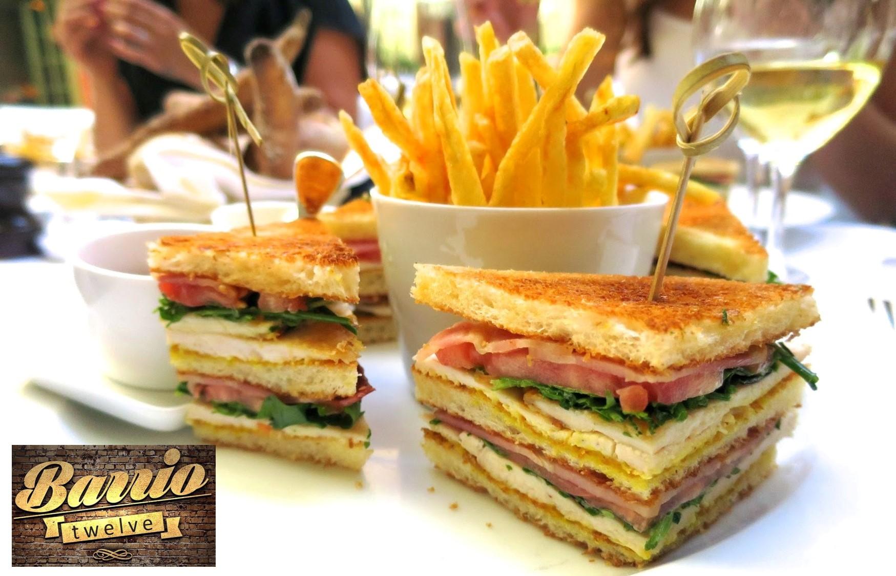 11,9€ από 18€ για Λαχταριστό Club Sandwich με πατάτες μαζί με 4 Ποτήρια Κρασί, στο πανέμορφο ''Barrio 12'', στο Ψυχικό εικόνα