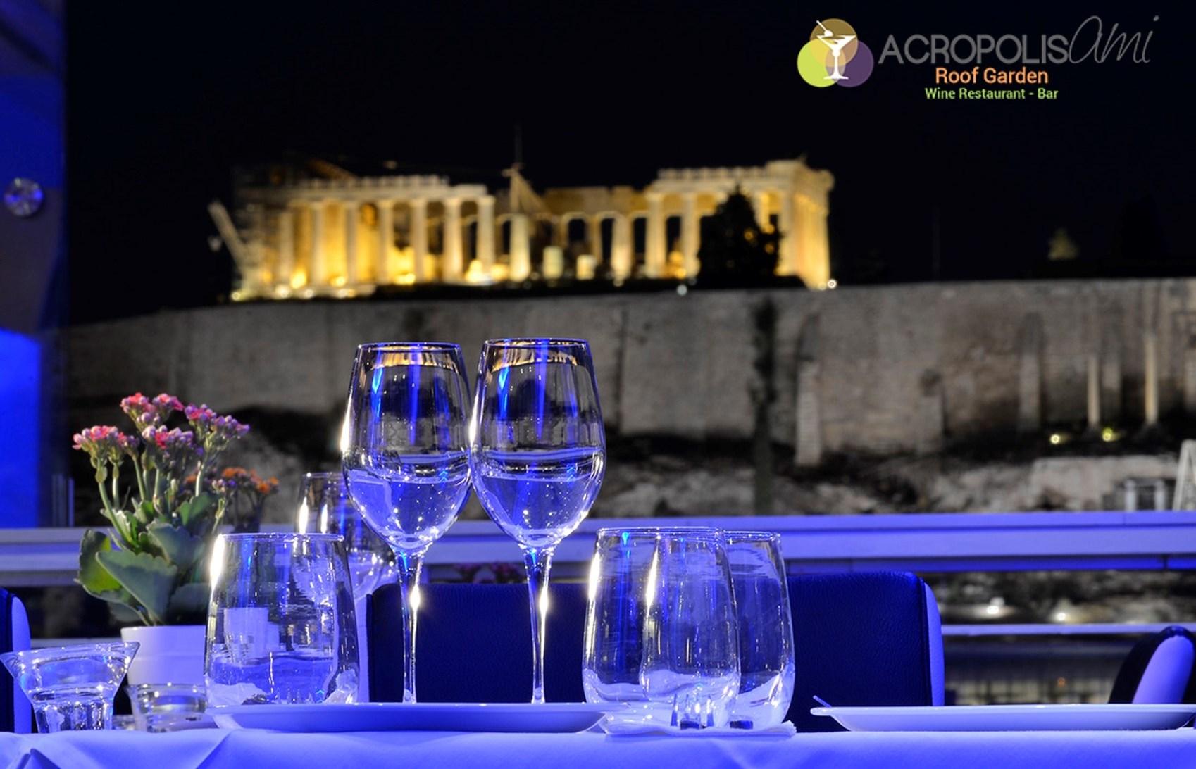 48€ από 80€ για πλήρες menu 2 ατόμων, ελεύθερη επιλογή, στο ''Acropolis Ami Roof Garden'', ένα από τα καλύτερα εστιατόρια της Αθήνας, με μοναδική θέα στην Ακρόπολη και τον Παρθενώνα, στο Λυκαβηττό και το λόφο του Φιλοπάππου εικόνα