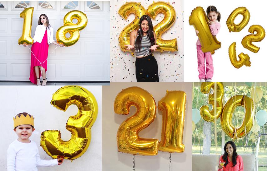 3€ από 10€ για Τεράστια Μπαλόνια Αριθμούς 60cm (24''), σε χρυσό χρώμα, ιδανικά για εορτασμό γενεθλίων και στολισμό πάρτυ