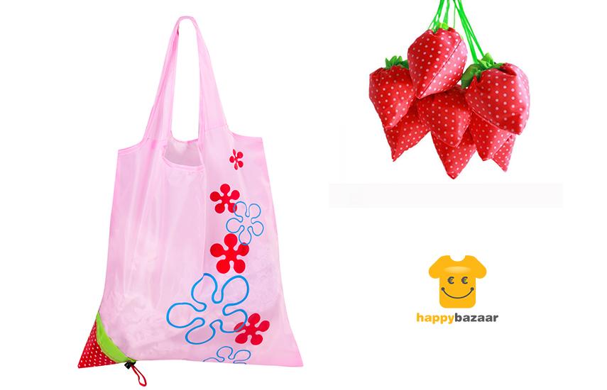 2,9€ από 9€ για Οικολογική μοντέρνα & εύχρηστη Τσάντα για τα ψώνια σας, που αναδιπλώνεται σε σχήμα φράουλας