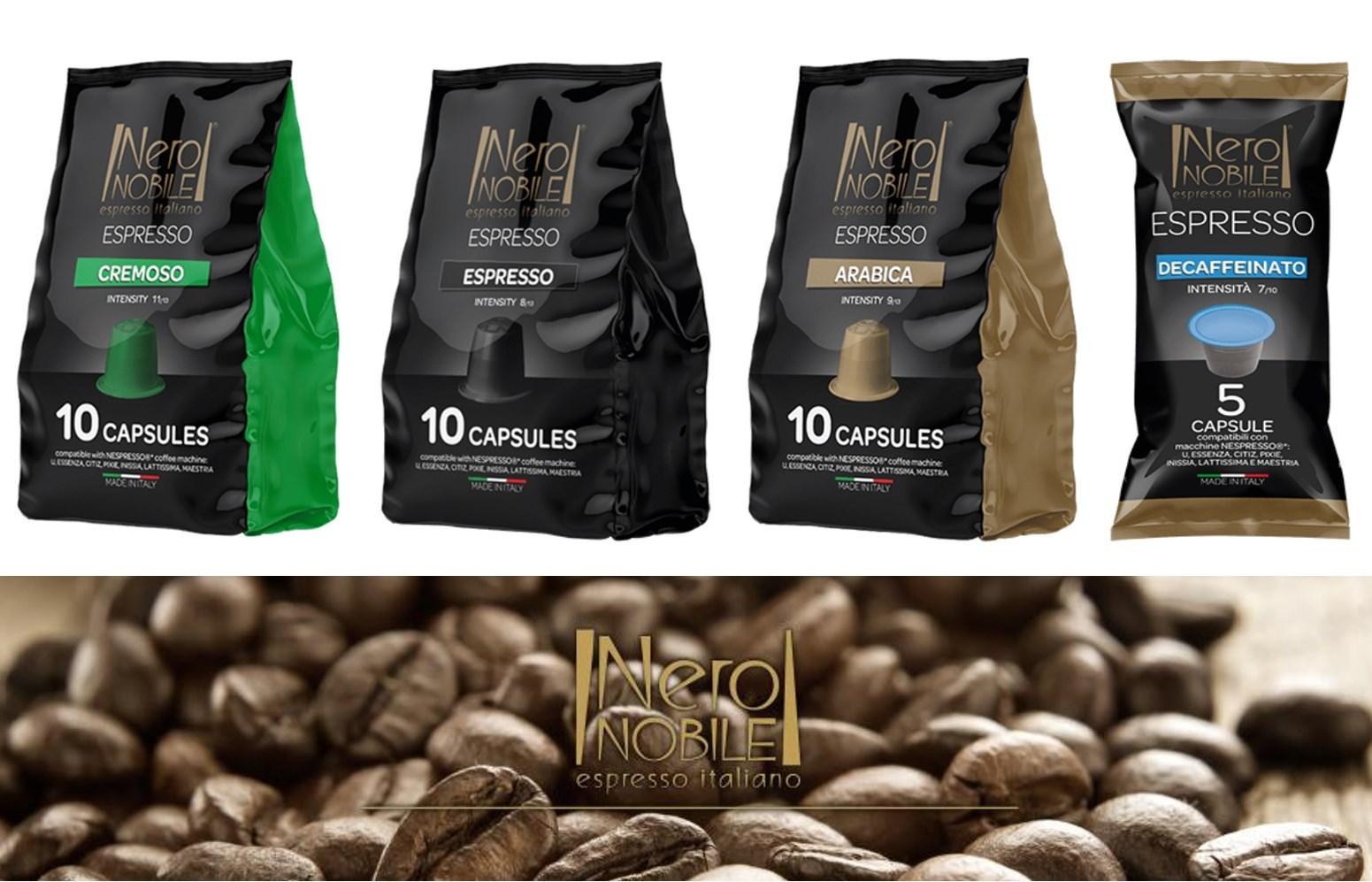 Ιταλικές Κάψουλες ΚΑΦΕ συμβατές με μηχανές NESPRESSO: Η Καλύτερη τιμή της αγοράς (από 0,18€/κάψουλα)! Απολαύστε αρωματικό Ristretto ή Espresso ή Lungo, από τη NeroNobile, την ηγέτιδα εταιρία στην Ιταλική βιομηχανία καφέ!