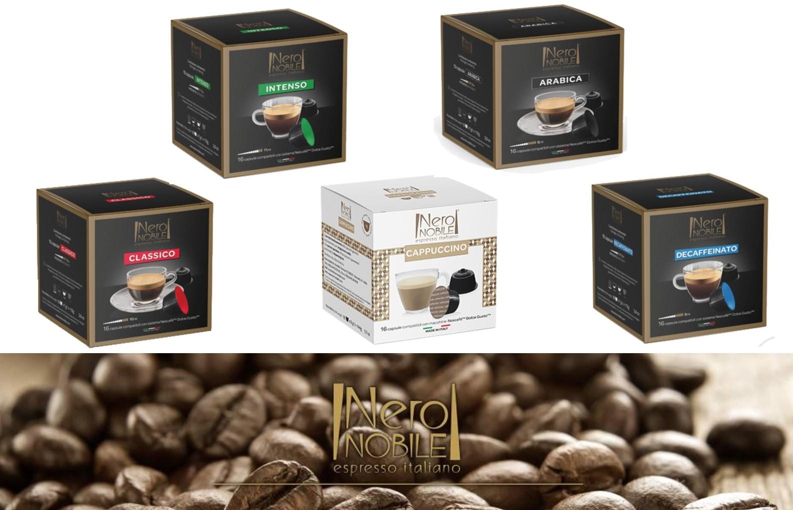 Ιταλικές Κάψουλες ΚΑΦΕ συμβατές με μηχανές DOLCE GUSTO: Η Καλύτερη τιμή της αγοράς (από 0,24€/κάψουλα)! Απολαύστε αρωματικό Ristretto ή Espresso ή Lungo, από τη NeroNobile, την ηγέτιδα εταιρία στην Ιταλική βιομηχανία καφέ!