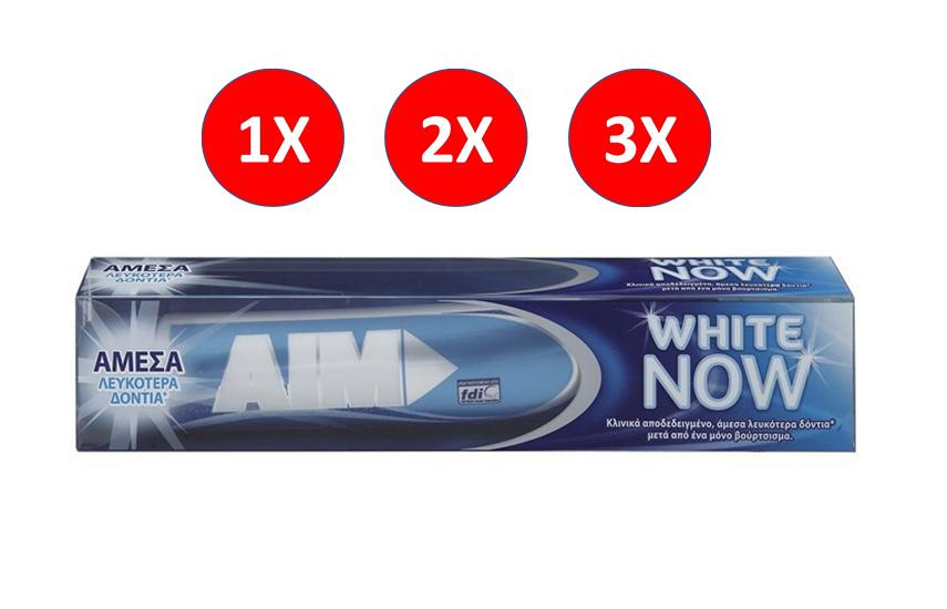 AIM Οδοντόκρεμα White Now 75ml: Από 1,9€ (50% έκπτωση) για 1-2-3 συσκευασίες! ...Για λευκότερα δόντια με 1 μόνο βούρτσισμα, η καλύτερη τιμή της αγοράς!