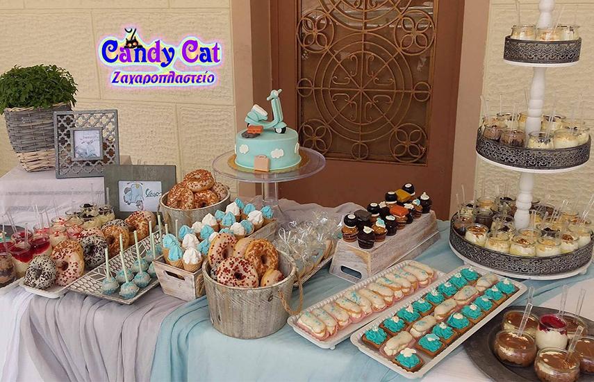 Από 169€ για μοναδικά πακέτα βάπτισης Candy Bar με στολισμό από το εργαστήριο ζαχαροπλαστικής ''Candy Cat'' στο Αιγάλεω εικόνα