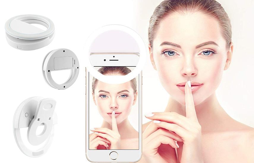 8,9€ από 25€ για Επαναφορτιζόμενο Selfie Ring με καλώδιο φόρτισης USB, για τέλειες selfie, ακόμα και σε απόλυτο σκοτάδι, κατάλληλο για όλα τα smartphone & tablet εικόνα