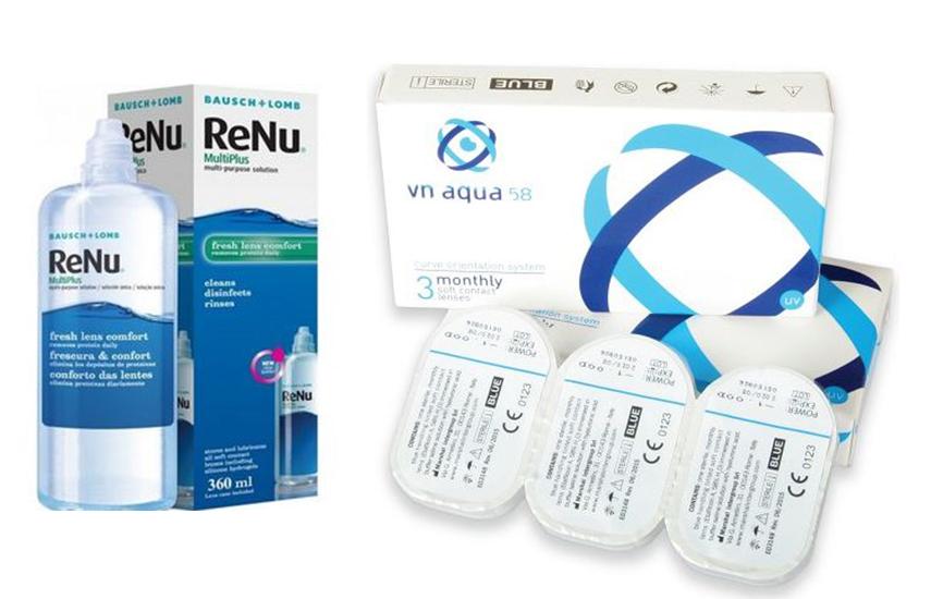 16,5€ από 33€ για 6 Ιταλικούς, Μηνιαίους Φακούς Επαφής VN Aqua 58 & 1 Υγρό φακών ReNu 360ml με ΔΩΡΕΑΝ αποστολή σε όλη την Ελλάδα
