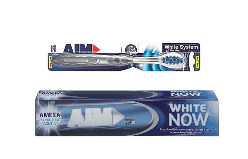 KIT ΣΤΟΜΑΤΙΚΗΣ ΥΓΕΙΝΗΣ: 8€ από 24€ για 2 AIM Οδοντόκρεμες White Now & 2 ΑΙΜ Οδοντόβουρτσες White System