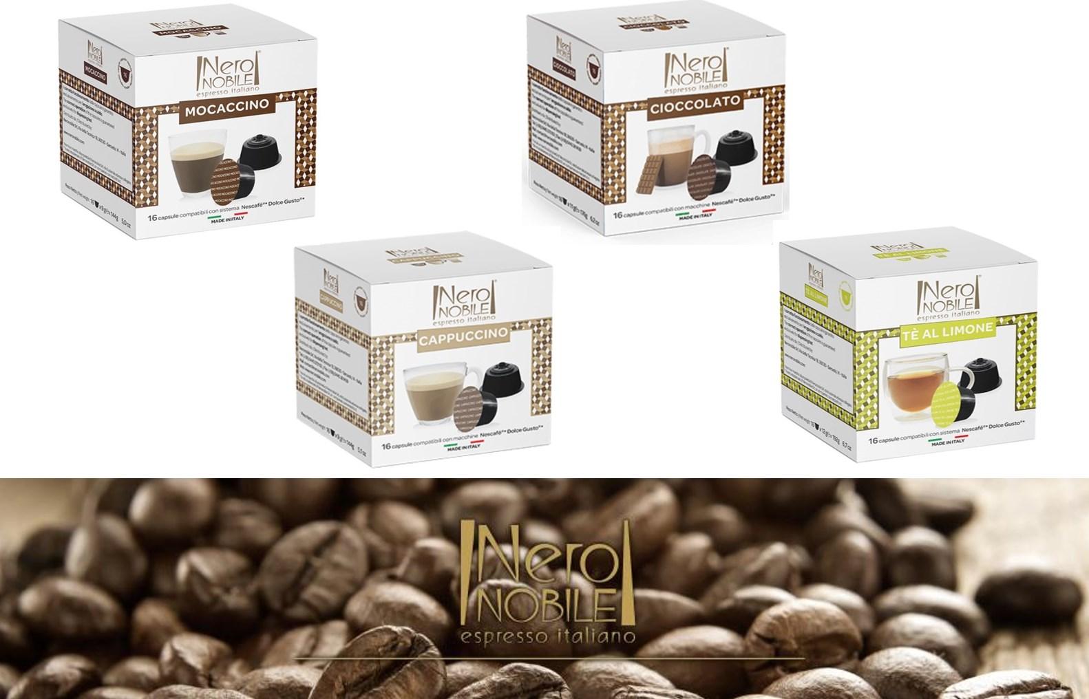 Ιταλικές Κάψουλες ΡΟΦΗΜΑΤΩΝ (Cappuccino, Μοcaccino, Cioccolato, Green Tea Lemon) συμβατές με μηχανές DOLCE GUSTO: Η Καλύτερη τιμή της αγοράς! Απολαύστε τα αγαπημένα σας ροφήματα από τη NeroNobile, την ηγέτιδα εταιρία στην Ιταλική βιομηχανία ροφημάτων!