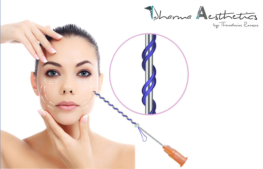300€ από 450€ για 40 Νήματα PDO double screw για το πρόσωπο, για ανόρθωση και διόρθωση της ανεπιθύμητης χαλάρωσης του δέρματος, στο