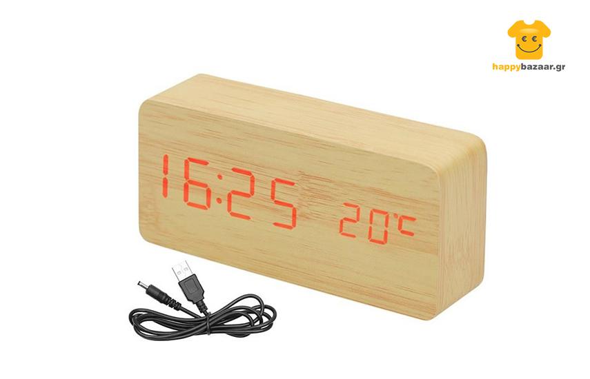 14,9€ από 29,9€ για Ξύλινο Επιτραπέζιο Ρολόι με Ξυπνητήρι, Θερμόμετρο, Αισθητήρα Ήχου Δόνησης & LED εικόνα
