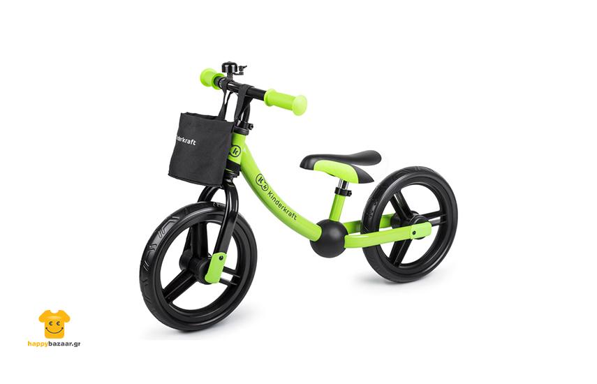 49,9€ από 89,9€ για Παιδικό Ποδήλατο Ισορροπίας Με Αξεσουάρ Kinderkraft 2Way Next, σε πράσινο χρώμα