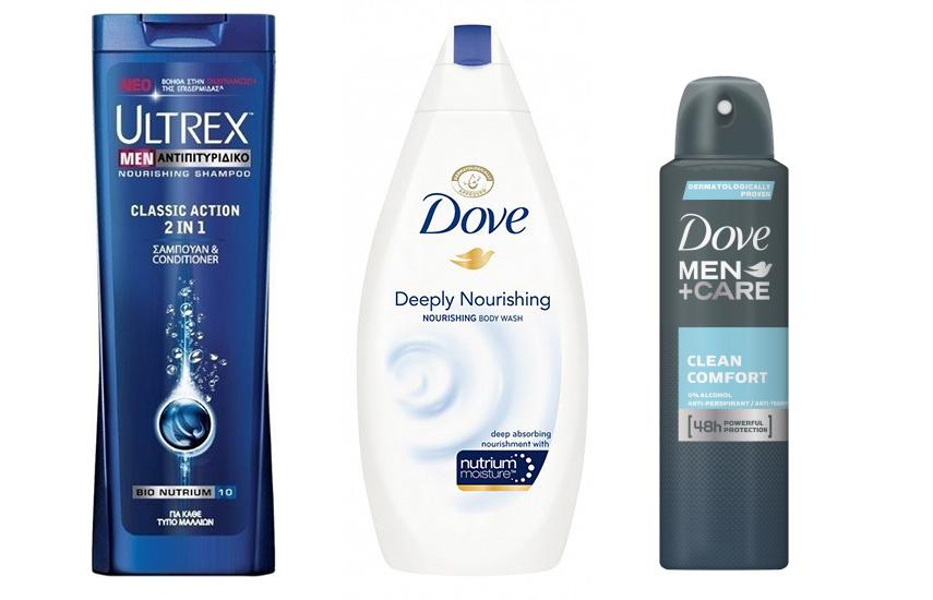 KIT ΑΝΔΡΙΚΗΣ ΠΕΡΙΠΟΙΗΣΗΣ: 8,6€ από 20€ για ULTREX Σαμπουάν - DOVE Men Αφρόλουτρο & DOVE Men Deodorant