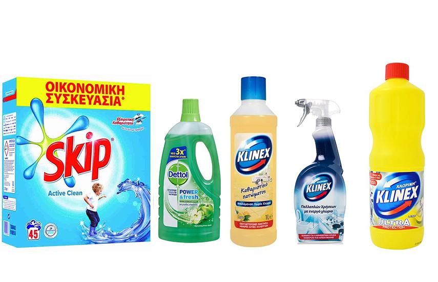 KIT KΑΘΑΡΙΟΤΗΤΑΣ: 17,5€ από 40€ για SKIP Σκόνη- DETTOL Καθαριστικό Πατώματος- KLINEX Χλωρίνη - KLINEX Spray & KLINEX Καθαριστικό πατώματος
