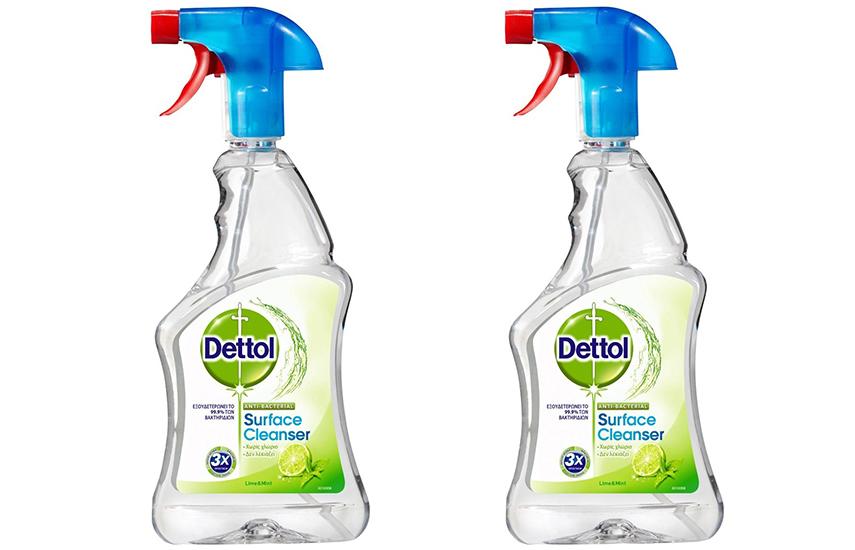 DETTOL Απολυμαντικό πολυκαθαριστικό Spray Γενικής Χρήσης Υγιεινή & Ασφάλεια Lime & Mint: 12€ για 2 συσκευασίες 500ml που εξουδετερώνουν το 99,9% των μικροβίων