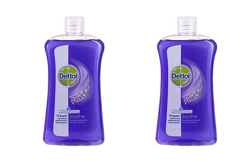 DETTOL Απολυμαντικό Υγρό Κρεμοσάπουνο για τα χέρια: 12€ για 2 συσκευασίες Soothe 750ml που εξουδετερώνουν το 99,9% των μικροβίων