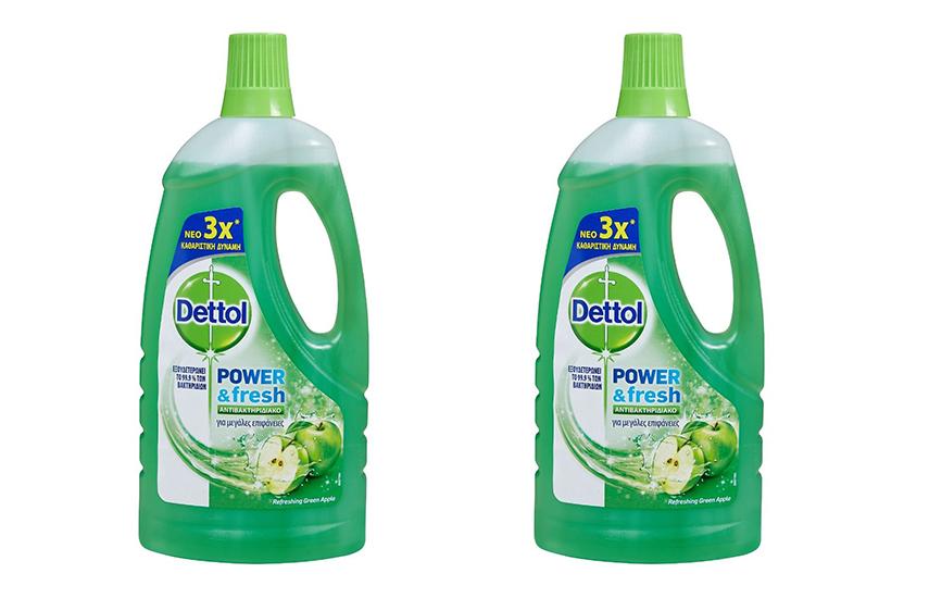 DETTOL Απολυμαντικό Καθαριστικό Πατώματος Green Apple: 9,9€ για 2 συσκευασίες 1lt με το νέο πρωτοποριακό προϊόν που εξουδετερώνει το 99,9% των μικροβίων