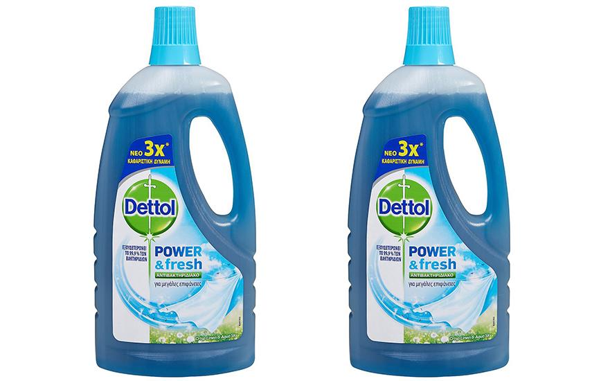 DETTOL Απολυμαντικό Καθαριστικό Πατώματος Crisp Linen & Aqua Sky: 9,9€ για 2 συσκευασίες 1lt με το νέο πρωτοποριακό προϊόν που εξουδετερώνει το 99,9% των μικροβίων